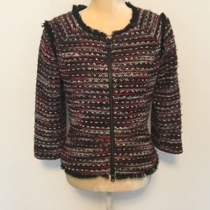 MILLY Tweed Frayed Double Zip Jacket  Size 4